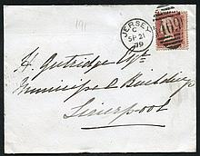 JERSEY 1879 cover to Liverpool posted at Millbrook