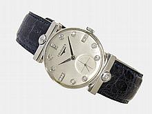 Extraordinary gentlemen's watch by Longines with special lugs, ca. 1950, 14 K white gold