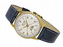 Wristwatch: Rare Pierce gentlemen's watch with triple date and moon, from the 50s