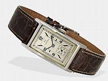 Wristwatch: Rectangular Omega gentlemen's watch, steel, from the 30s