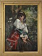 Charles Louis Lucien Muller (Paris 1815-1892)  Young lady w/red skirt, Charles Muller, Click for value