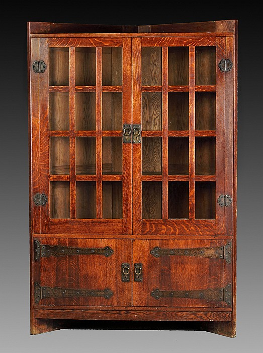 Rare Gustav Stickley Oak Corner Cupboard