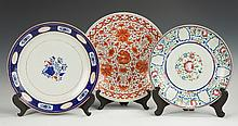 Three Early Chinese Export Decorated Porcelain Chargers
