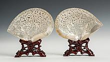 Carved Chinese Mother of Pearl Fan Form Plaques