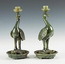 Chinese Carved Spinach Jade Candlesticks with Birds Standing on Turtles