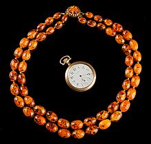 Amber Necklace & Wallace Pocket Watch