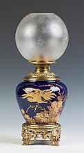 Cobalt Porcelain & Brass Lamp