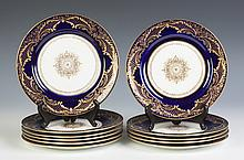 Royal Doulton Cobalt Blue Luncheon Plates with Gold Enameling