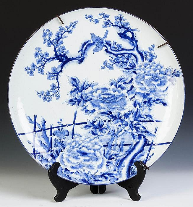 Signed Japanese Blue & White Porcelain Charger