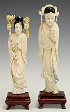 Pair of Chinese Carved Ivory Figures of Women, early 20th c., one with a fan, the other with a floral bouquet, on carved wooden base...