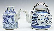 Two Chinese Porcelain Teapots, 19th c., in blue and white, one with a lid, both with wax seal export marks, Larger- H.- 4 1/4 in., W...