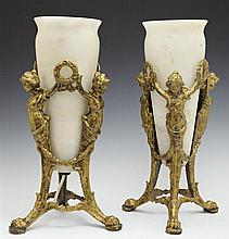 Pair of Gilt Spelter Alabaster Torchere Lamps, 20th c., the central urns on tripodal caryatid supports to paw feet, H.- 13 5/8 in.,...