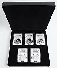 Canada Vancouver Olympics 2009, set of five .925 silver $25 coins, consisting of Ski Jumping, Cross Country, Olympic Spirit, Skeleto...