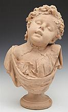 French Terrcaotta Bust of a Child, 19th c., signed Secorney verso, on a socle support, H.- 17 in., W.- 9 3/4 in., D.- 8 in.
