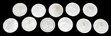Mardi Gras- Group of Eleven Rex .999 Silver Doubloons, 1982, Two 1987, 1984, Four 1983, Two 1985, 1986. (11 Pcs.)