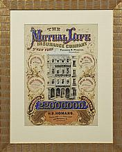 Colorful Mutual Life Insurance Co. Advertising Poster, 19th c., San Francisco, framed, H.- 21 1/2 in., W.- 15 1/4 in.