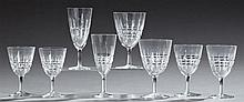 Forty-Four Pieces of Cut Crystal Stemware, consisting of 12 red wines, 11 white wines, 9 champagnes, and 12 sherrys. (44 Pcs.)