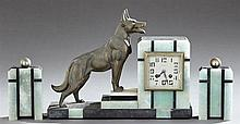 Three Piece Art Deco Patinated Spelter, Onyx and Marble Clock Set, c. 1940, by Fini, Paris, time and strike, the geometric clock fla...