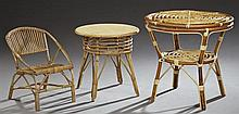 Three Pieces of French Bentwood Furniture, 20th c., consisting of a child's chair, a small circular side table, and a two tiered cir..