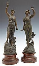 Pair of Art Nouveau Patinated Spelter Figures of