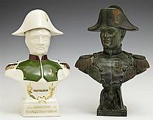 Two Busts of Napoleon Bonaparte, 20th c., one of patinated spelter and one a figural porcelain Armagnac bottle, Spelter- H.- 9 1/4 i...