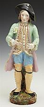 Old Paris Style Polychrome Porcelain Figure, 20th c., of a gentleman, in the manner of Jacob Petit, signed