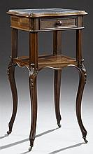 French Louis XV Style Parquetry Inlaid Rosewood Marble Top Nightstand, 19th c., the inset highly figured dished black marble top wit...