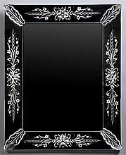 Venetian Glass Mirror, 20th c., the floral cut sides with relief leaf corners around a beveled plate, H.- 36 1/2 in., W.- 29 1/2 in.