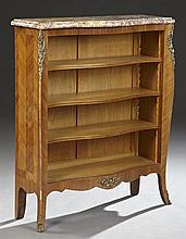 French Louis XV Style Ormolu Mounted Marble Top Inlaid Mahogany Bowfront Bookshelf, 20th c., the highly figured serpentine ochre and...