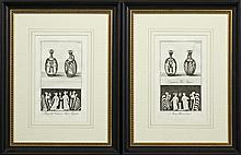Pair of Black and White Prints of Ancient Roman Vases and Designs, 19th c., presented in identical frames, H.- 13 in., W.- 8 in.