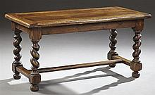 French Provincial Louis XIII Style Carved Oak Coffee Table, early 20th c., the rectangular top over a wide skirt to barley twist leg...