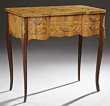 French Louis XV Style Marquetry Inlaid Kingwood and Mahogany Ormolu Mounted Poudreuse, 20th c., with a central lifting lid with an i...