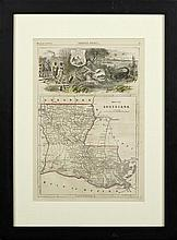 Map of Louisiana, February 3, 1866, hand colored Harper's Weekly print, framed, H.- 15 in., W.- 10 in.