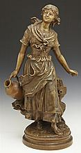 French Patinated Terracotta Figure of a Woman Water Bearer, 19th c., on an integrated stepped base, verso stamped