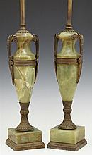 Pair of Bronze Mounted Green Onyx Urn Lamps, early 20th c., of tapered form, with scrolled handles on bronze socle supports to squar...