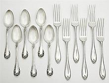 Twelve Pieces of Sterling Flatware, consisting of six dinner forks, by Towle, 1902, in the