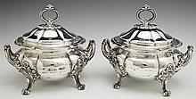 Pair of Silverplated Covered Dishes, 19th c., by Thomas Bradbury & Sons, Sheffield, with beaded rim, on four beaded scrolled feet, w...