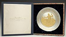 John Quincy Adams 1974 Official Bicentennial Sterling Plate, #8362, from The Franklin Mint, electroplated in 24K gold, in the origin...
