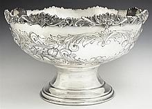 Large Silverplate Punch Bowl, 20th c., by Crown Silver Co. ( Division of International Silver), with a relief decorated rim over flo...