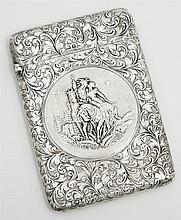 English Sterling Calling Card Case, Birmingham, 1905, by Zacahariah Barraclough & Sons, with engraved decoration overall and a centr...