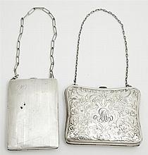 Two American Sterling Coin Purses, early 20th c., one with relief decoration; the other fitted for nickels and dimes, Wt.- 5.47 troy...