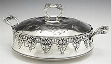 Victorian Quadruple Silverplated Chafing Dish, c. 1880, by James W. Tufts, with repousse leaf and scroll engraved decoration, the in...