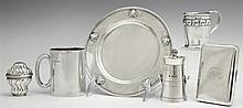 Group of Six Silver Items, consisting of a Danish sterling plate; English sterling mug, B'ham, 1918; Danish sterling cigarette case;..