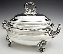 English Silverplated Oval Covered Tureen, early 20th c., the lid with a scrolled relief handle, over a gadrooned rim, the side with...