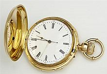 18K Yellow Gold Swiss Quarter Hour Repeater Hunting Case Pocket Watch, 19th c., by Jacot Freres, No. 10235, the case marked #44082 a...