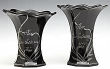 Pair of Mardi Gras Krewe Favors, Rex, 1917, in the form of octagonal silver depose black glass trumpet vases, in two sizes, H.- 5 3/...