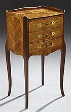Louis XV Style Marquetry Inlaid Kingwood and Mahogany Nightstand, 20th c., the floral marquetry inlaid top surrounded by a serpentin...