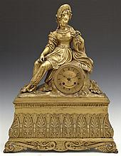 Fine French Gilt Bronze Figural Mantel Clock, mid 19th c., time and strike, retailed by Geyerdet a Paris, with a seated figure of a...