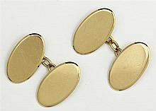 Pair of 18K Yellow Gold Cufflinks, Chester, 1907, of a double oval form joined by chains, H.- 9/16 in., W.- 7/16 in., Wt.- .36 troy oz.