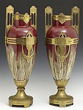 Pair of French Arts and Crafts Bronze Mounted Handled Vases, c. 1910, of tapered form with drip glaze decoration, on socle supports...